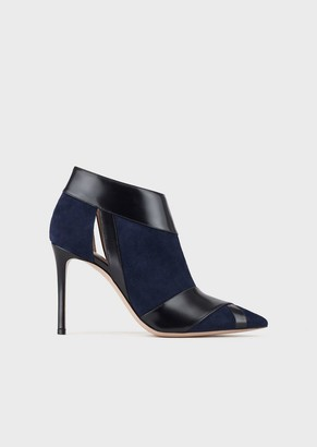 Giorgio Armani High-Heeled Ankle Boots In Suede And Criss-Crossed Leather With Side Cutouts