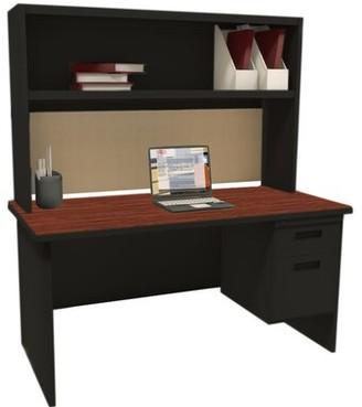 Red Barrel Studioâ® Crivello Executive Desk with Hutch Red Barrel StudioA Color (Top/Frame): Black/Mahogany/Basin