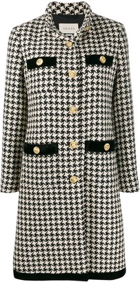 Gucci Houndstooth Print Single-Breasted Coat
