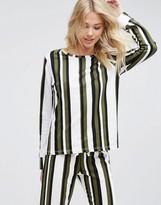 Asos LOUNGE Khaki Stripe Sweatshirt