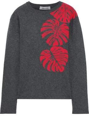 Valentino Melange Cashmere-jacquard Sweater