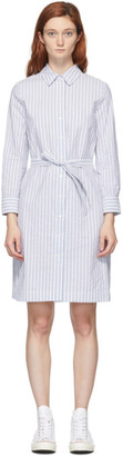 A.P.C. White and Blue Striped Jo Dress