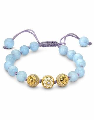 BUDDHA MAMA Aquamarine and Three Diamond Bead Strung Bracelet