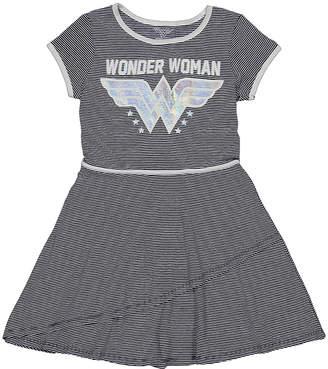 Jerry Leigh Girls' Casual Dresses - Wonder Woman Black & Gray Stripe Skater Dress - Girls
