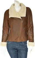 House of Leather Ladies Real Sheepskin Merino Shearling Jacket Aviator Biker Style Jodie