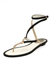 Rene Caovilla Flat Two-Tone Crystal Ankle-Wrap Sandal, Black Pattern