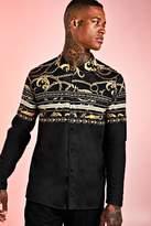 BoohoomanBoohooMAN Mens Black Floral Baroque Stripe Long Sleeve Shirt, Black