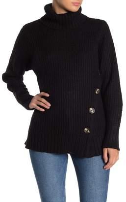 Modern Designer Asymmetrical Button Front Turtleneck Sweater