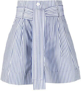 P.A.R.O.S.H. Stripe-Print Belted-Waist Shorts