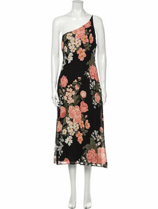 Reformation Floral Print Long Dress w/ Tags Black