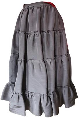 Lanvin Grey Silk Skirt for Women Vintage