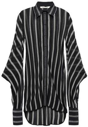 Roberto Cavalli Metallic-trimmed Striped Crochet-knit Shirt