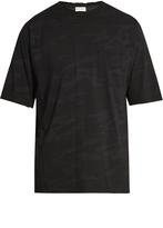 Saint Laurent Distressed camouflage-print cotton T-shirt