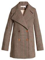 See by Chloe Double-breasted hound's-tooth wool-blend coat