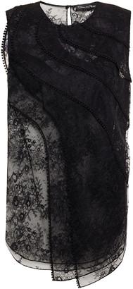 Oscar de la Renta Picot-trimmed Layered Corded Lace Top