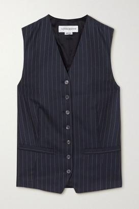 Victoria Beckham Pinstriped Wool-twill Vest - Navy