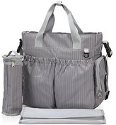Veevan Stripe Nappy Diaper Bag Tote (Grey) by Veevan