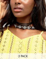Asos Pack of 2 Embellished Wraparound Choker Necklace