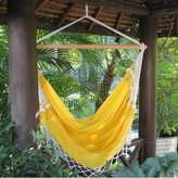 Novica Salvador Sun Outdoor Garden and Patio 100% Cotton Eco Friendly Yellow Hand Crocheted Macrame Edge Swing Chair Hammock (Brazil)
