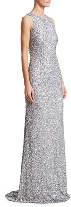 Theia Sleeveless Sequin Sheath Gown