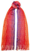 Missoni Fringed Metallic Crochet-knit Scarf - Pink
