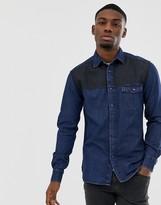 Esprit regular fit denim shirt in two tone dark wash blue