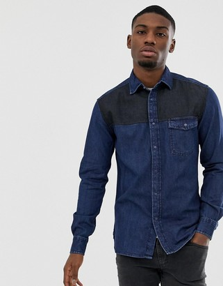 Esprit regular fit denim shirt in two tone dark wash blue