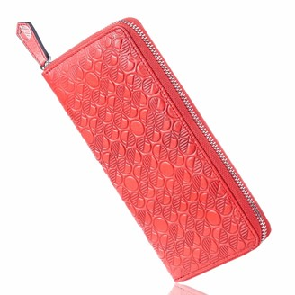 Luxury English Leather Ladies 12 Card Zip Around Purse & Wallet In Coral