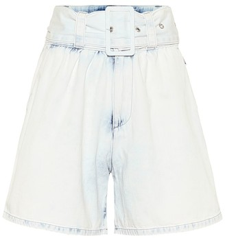 MSGM High-rise cotton-denim shorts