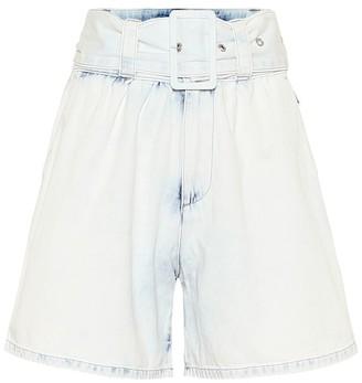 MSGM High-rise cotton-denim shorts