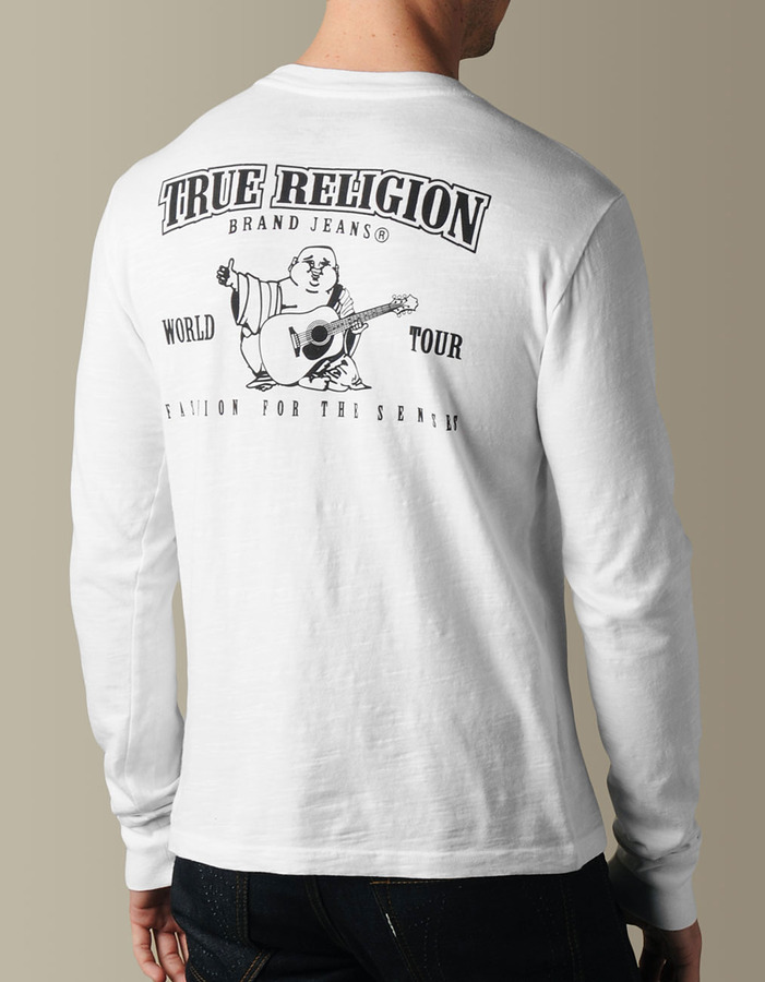 True Religion Mens Logo Slub Crew Neck Tee - (White)