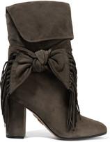 Aquazzura Bow-embellished Fringed Suede Boots - Dark gray