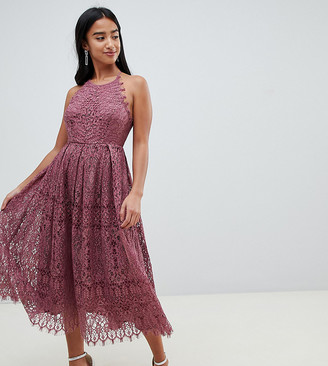 ASOS DESIGN Petite lace pinny scallop edge prom midi dress