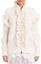 Stella McCartney Ruffled Broderie Anglaise Knit Cardigan