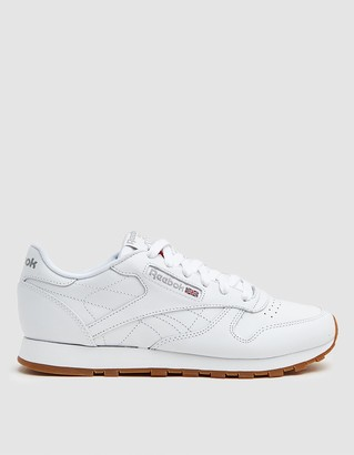 Reebok Women's CL Leather Sneaker in White/Light Grey/Gum, Size 5 | Leather/Rubber/Synthetic