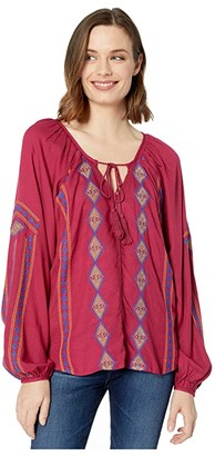 Rock and Roll Cowgirl Long Sleeve Solid B4-4498 (Wine) Women's Clothing
