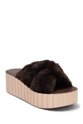 Tory Burch Faux Fur Scallop Platform Slide Sandal