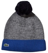 Lacoste Grey Contrast Turn-up Knitted Bobble Hat