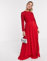 Chi Chi London Chi Chi Elora crochet maxi dress in red