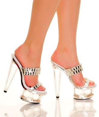 "The Highest Heel Spectrum Series 51 6"" Prism Heel Platform Mule with Double Band Rhinestone Accented Vamp"