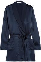 Araks Madeline Washed-silk Crepe De Chine Robe - Midnight blue