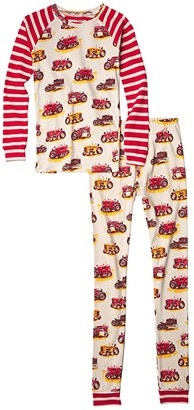 Hatley Vintage Tractors Raglan PJ Set (Toddler/Little Kids/Big Kids) (Natural) Boy's Pajama Sets
