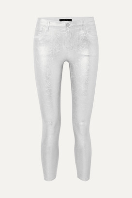 J Brand 835 Metallic Coated Cropped Mid-rise Skinny Jeans - Silver