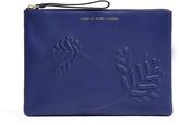 Bauhaus Blue Floral Leather Wristlet Tablet Case