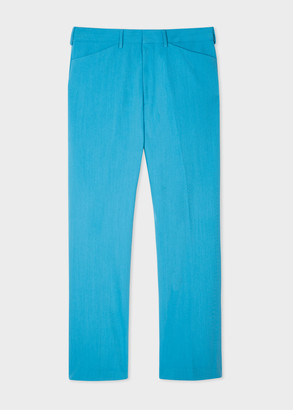 Men's Turquoise Wool-Blend Trousers