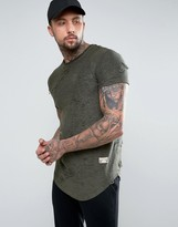 SikSilk T-Shirt In Khaki With Curved Hem And Distressing