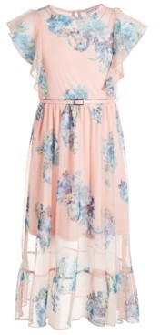 Beautees Big Girls Plus Size Belted Floral Maxi Dress