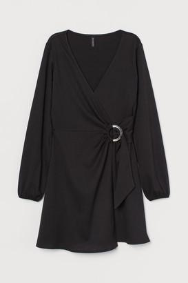 H&M Crinkled Wrap Dress - Black