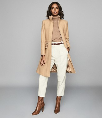 Reiss MACEY Wool Blend Mid Length Coat Camel