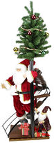 Asstd National Brand 50 Santa Claus On Spiral Staircase with Tree & Elf Figurine On Wooden Base